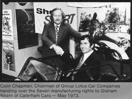 Colin Chapman et Graham Nearn en 1973