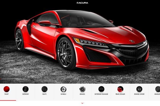 Le configurateur de l'Acura NSX est en ligne