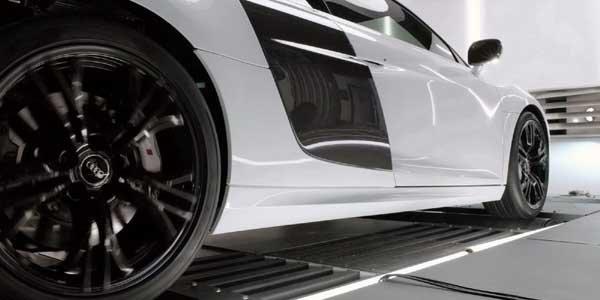L'Audi R8 V10 Plus sur le banc
