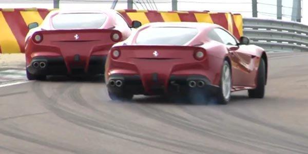 Les pilotes Ferrari en F12 Berlinetta