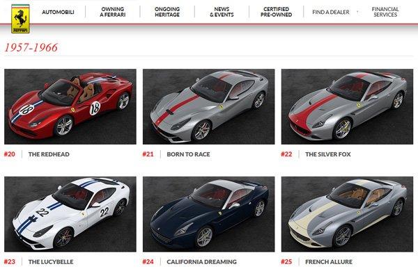 Ferrari : découvrez les 70 livrées spéciales anniversaire