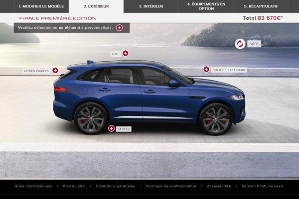 le nouveau suv jaguar f pace a son configurateur actualit automobile motorlegend. Black Bedroom Furniture Sets. Home Design Ideas