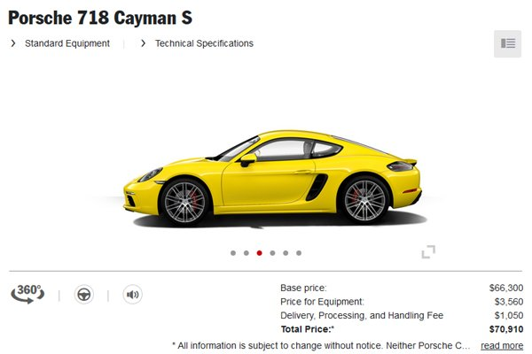 Porsche 718 Boxster et 718 Cayman : le configurateur