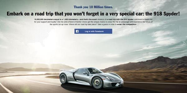 Porsche fête ses 10 millions de fans Facebook