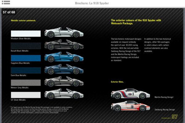porsche 918 spyder la brochure actualit automobile motorlegend. Black Bedroom Furniture Sets. Home Design Ideas