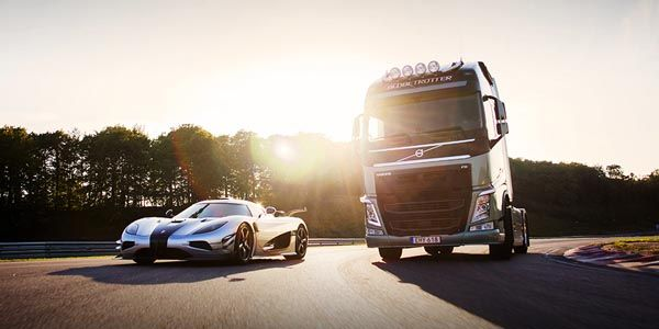 Volvo FH vs Koenigsegg One:1 : la course