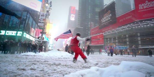 Snowboard dans les rues de New York
