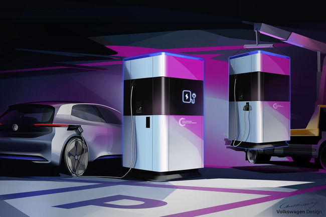 Volkswagen présente sa station mobile de charge