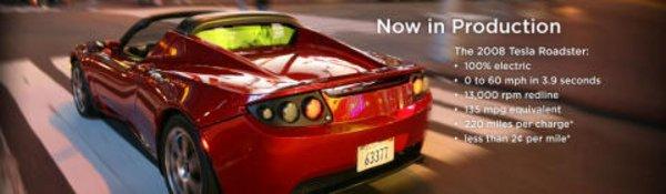 Tesla Roadster : fin 2009 en Europe