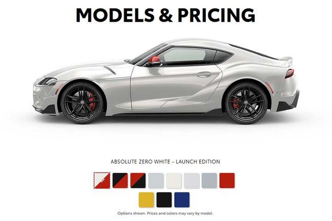Toyota Supra : la palette des couleurs